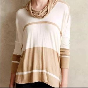 Anthro Bordeaux Colorblock Cowl Beige Boho Top S P